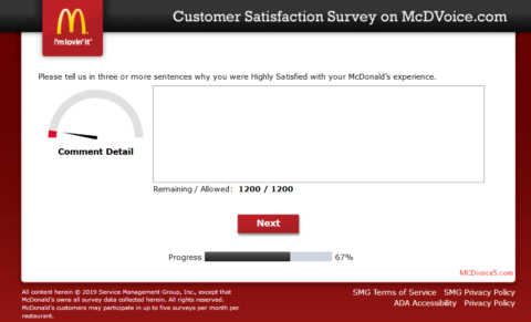 filling customer details for Mcdvoice survey