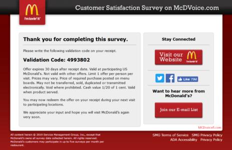 mcdvoice validation code